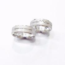 Par De Alianças Prata 950 Diamantada Coração Vazado Zirconia