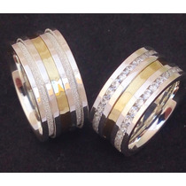 Par Alianças Namoro 10mm Prata 950 Ouro 18k + 60 Pedras