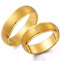 Par Aliança De Ouro 18k 4mm 5 Gramas Com Diamantes Casamento
