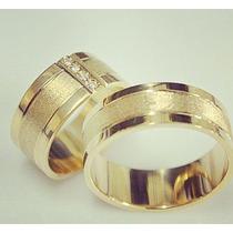 Par De Alianças Ouro 0,750 18k Prata 950 Zirc 7mm Casamento