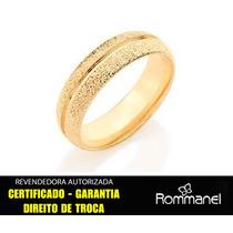 Aliança Granitada Detalhe Liso Rommanel 511525