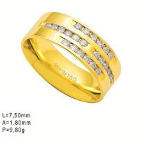 Aliança De Ouro 18k Com Diamantes, 24 Brilhantes De 2,25...