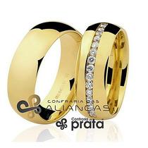 Par De Aliança Ouro 18k - 6mm/12grs - 15 Diamantes - Dc687