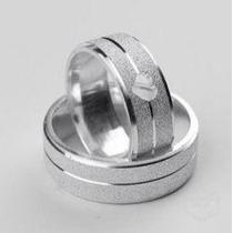 Par De Alianças Prata 950 7mm Coração ,compromissso Namoro