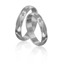 Par De Aliança Em Prata 950 Abaulada E Diamantada