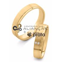 Par De Aliança Ouro 18k - 5mm/10grs - 2 Diamantes - Dc541