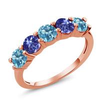 Topázio Azul Suíço Anel De Ouro Rosa