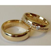 Par Aliança Grossas Com Diamantes Em Ouro 18k 750 Promoção