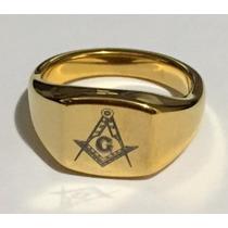 Anel De Tungstenio Banhado A Ouro 18k Com Simbolo Maçonico