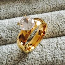 Aliança Feminina Banhado A Ouro 18k Com Cristal -promoçao