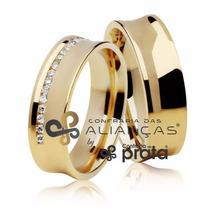 Par De Aliança Ouro 18k - 7mm/14grs - 20 Diamantes - Dc740