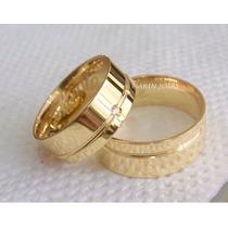 Alianças Ouro18k 22 Gramas 8mm Brilhantes Casamento Noivado