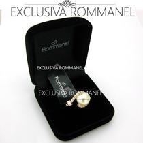 Rommanel Anel Aliança Solitário Zircônia Pérola Ouro 511498