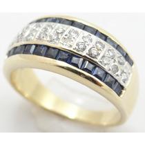 Feliz Joias - Safiras E Diamantes Em Lindo Anel De Ouro 18k