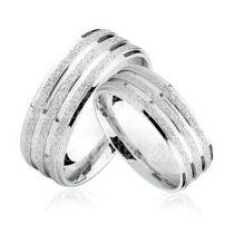 Par De Alianças De Prata 950k Diamantada 4 Frisos Namoro