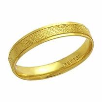 Aliança Casamento Fosca Reta Trab Ouro 18k - Al119 Conforte