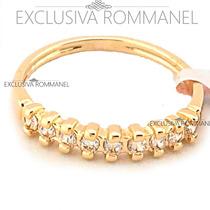 Rommanel Anel Meia Aliança Folheado Ouro 18 Zirconias 511027