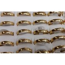 Caixa Com 36 Alianças Aço Inox 4mm Banho Dourado (promoção)
