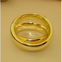 Par De Alianças 7mm Anatômicas Folheadas Ouro 18k