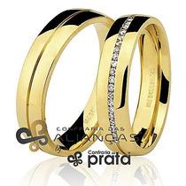 Par De Aliança Ouro 18k - 5mm/10grs - 20 Diamantes - Dc561