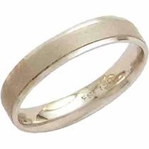 Aliança De Casamento Fosca Reta Trab Ouro Bco 18k-al69 Conf