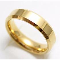 Par Alianças Casamento Retas 4mm Baratas Banhadas Ouro 18k