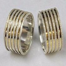Par De Alianças De Prata 950k Diamantada Com Friso Banhado