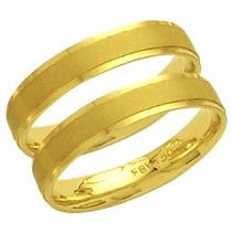 Par Aliança Casamento Fosca Reta Trabalhada Ouro 18k - Al68c
