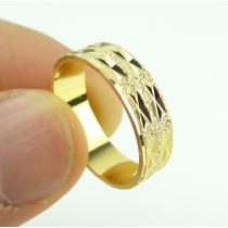 Anel Aliança Aro 24 Folheado Ouro Namoro Casamento J2504a