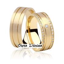 Par Aliança Ouro 18k 7 Mm 15 Grs Anatômica 41 Diamantes 0011