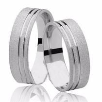 Par De Alianças De Prata 950k Diamantado 2 Frisos