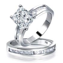 Bling Jewelry De Prata Emerald Cz Solitaire Nupcial Anéis S
