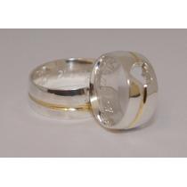 Alianças Prata 950 Coração Vazado 10mm Friso Banhado A Ouro