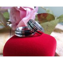 Aliança De Namoro Prata Aço Inox Filet Prata Anel Giratório
