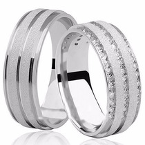 Par De Alianças De Prata 950k Grossas10mm Diamantado Pedras