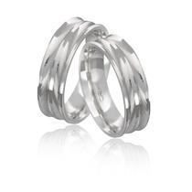 Par De Aliança Em Prata 950 Reta Diamantada