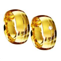 Aliança Compromisso Noivado Casamento 8 Mm Prata E Ouro