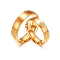 Par Aliança 6.0m Banhada Ouro Noivado Casamento Com Pedras