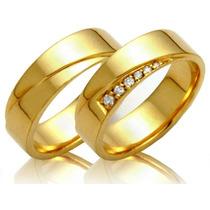 Alianças Em Ouro Amarelo 18k Com 10 Pts. De Diamantes