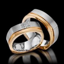 Par Alianças 10 Grs Ouro18k/ 750 Diamantes 12 X Sem Juros