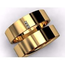 Aliança Ouro 18k 10 Gramas 5mm 3 Brilhantes Casamento