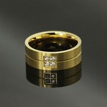 Linda Aliança Anel 8mm Brilhantes Folheadas Ouro Unidade