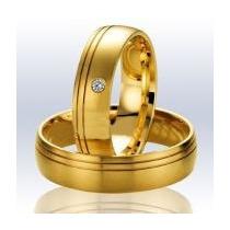 Alianças De Ouro 18 K 4 Mm Com Diamante De 1 Pts Casamento !