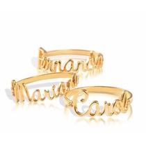 Anel Noivado Meia Aliança Ouro 18k Diamantes Nomes Diversos