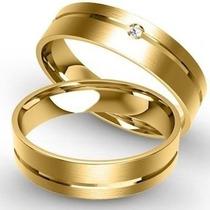 Par De Alianças De Ouro 18k 5 Gramas Com Diamantes