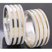 Alianças Prata 950 E Ouro 8mm Diamantada O Par Frete Grátis