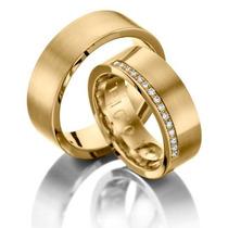 Par Alianças Banhadas Ouro Com 15 Micro Brilhantes Oferta!