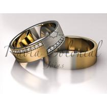 Aliança Ouro Amarelo E Ouro Branco, 20 Diamantes. Casamento