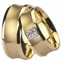 Aliança Do Amor Em Ouro 18 Quilates Mais Diamantes