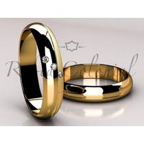 Alianças Em Ouro 18k E 3 Diamantes. Abaloada Al 1008